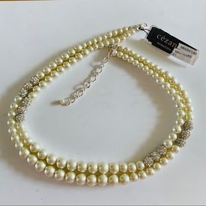 NWT Cezanne Double Strand Faux Pearl and Chrystal